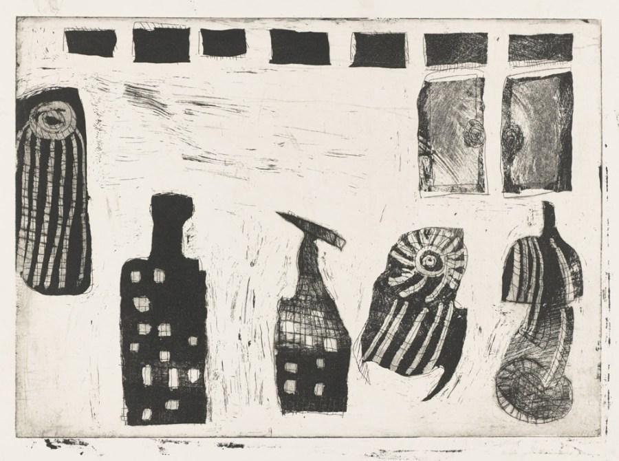 Bouteilles et canettes allignées - Gravure de Claude Tironneau