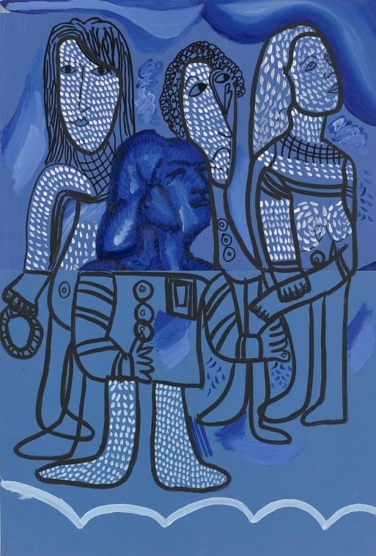 Tête en pointillé - Peinture de Claude Tironneau