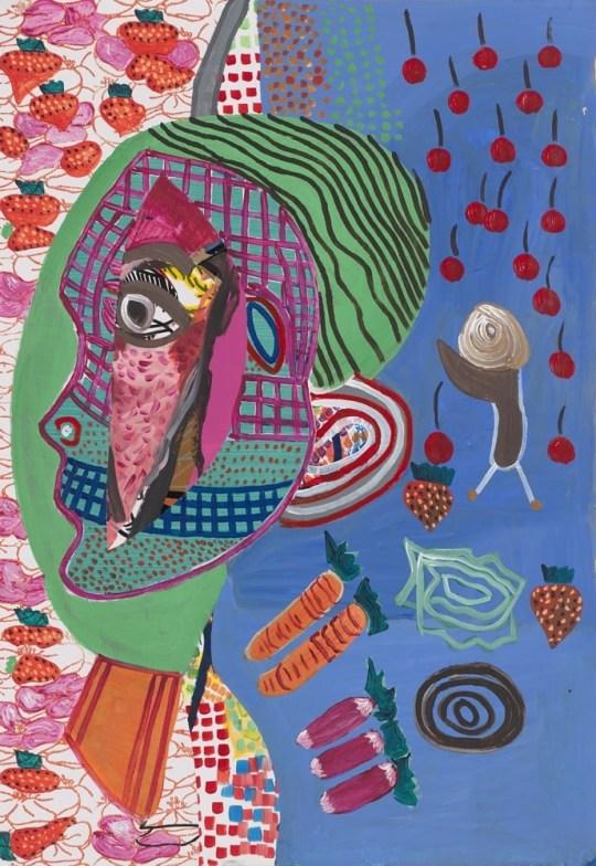 Tête de profil avec fruits - Peinture de Claude Tironneau