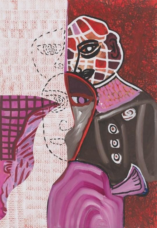 Trois têtes - Peinture de Claude Tironneau