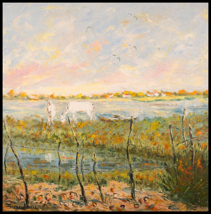 Camarguais - Huile sur toile 100x100 cm