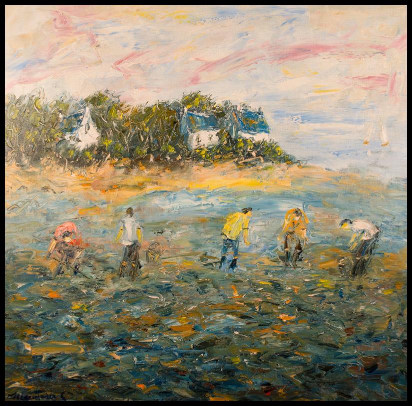 Pêche à pied en Bretagne - Huile sur toile 80x80 cm