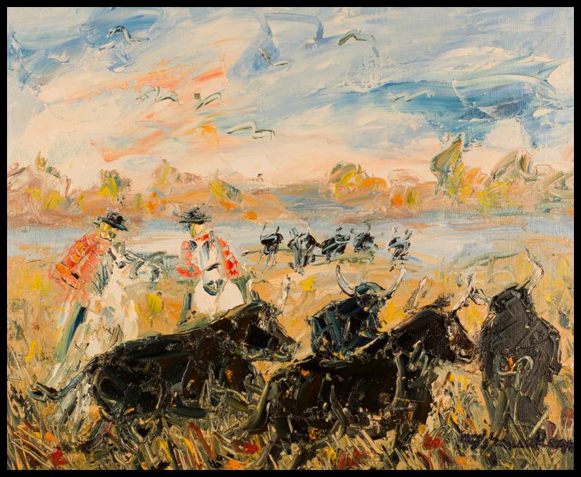 Gardians et taureaux camarguais - Huile sur toile 46x38 cm