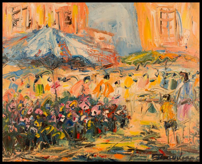 Marché aux fleurs - huile sur toile 46x38 cm