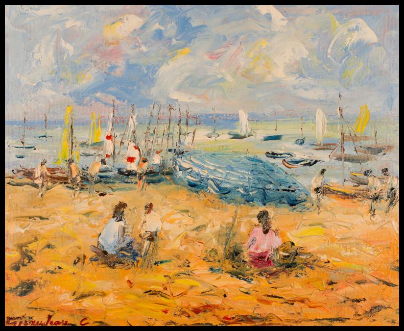 La plage - Huile sur toile 46x38 cm