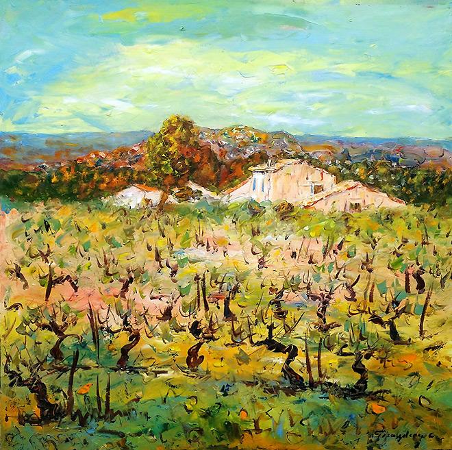 Huile sur toile : Au cœur du vignoble