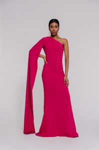 """One shoulder crepe gown""'long open sleeve to the floor"" ""floor length sleeve"""