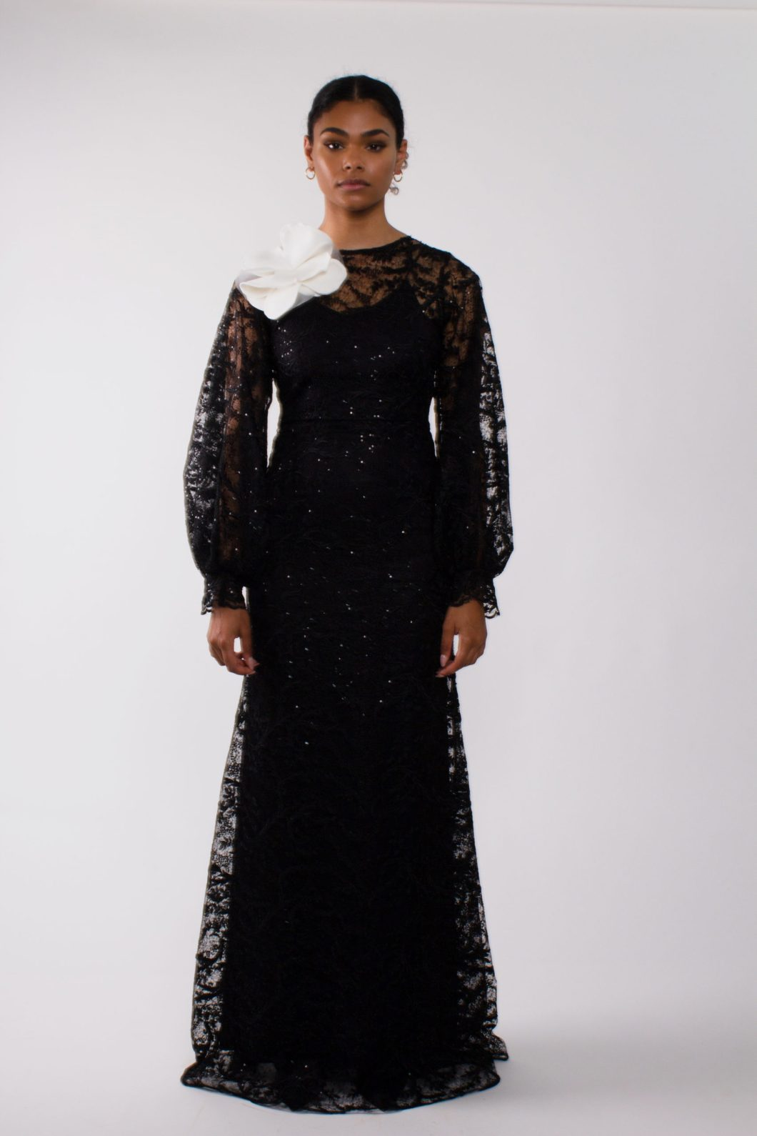 """Evening lace gown""""long puff sleeve gown"""