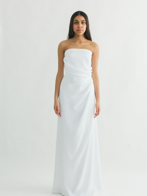 "Strapless wedding dress ""draped bustier "" draped skirt"""