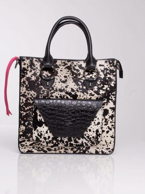 """Designer leather bag"" ""black and white cow hide bag"""