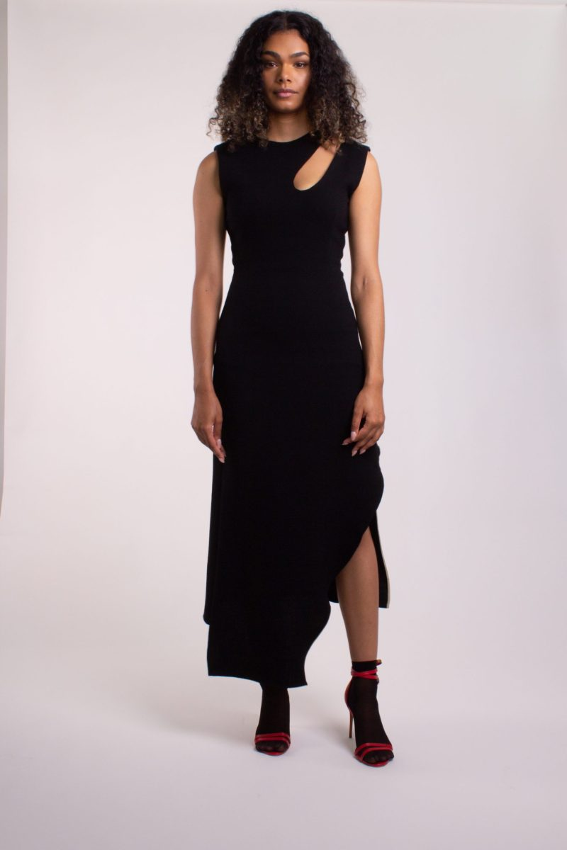 Midi wool crepe dress