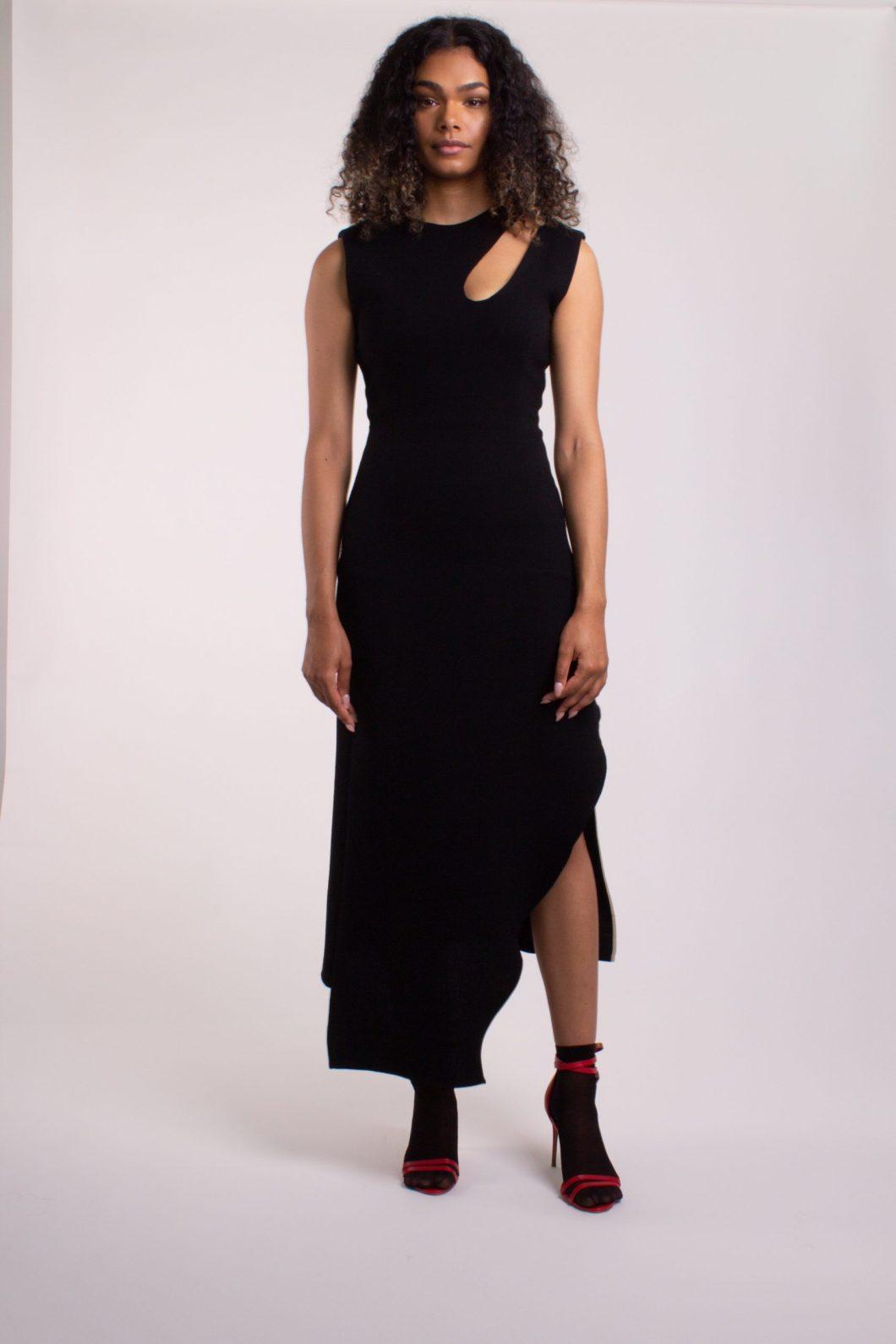 Midi wool crepe dress