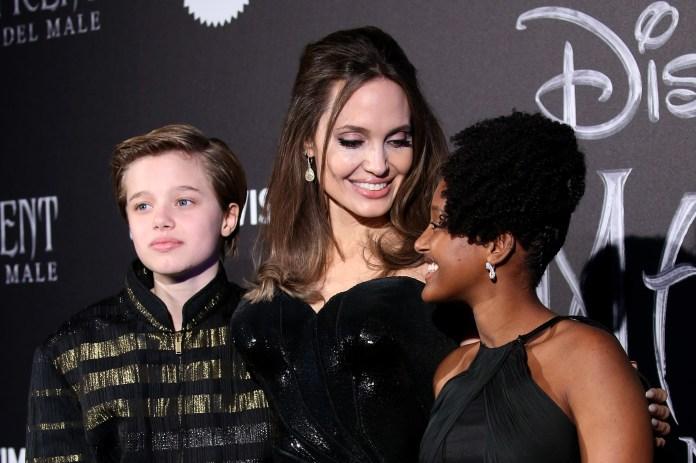 Angelina Jolie with sons Shiloh and Zahara