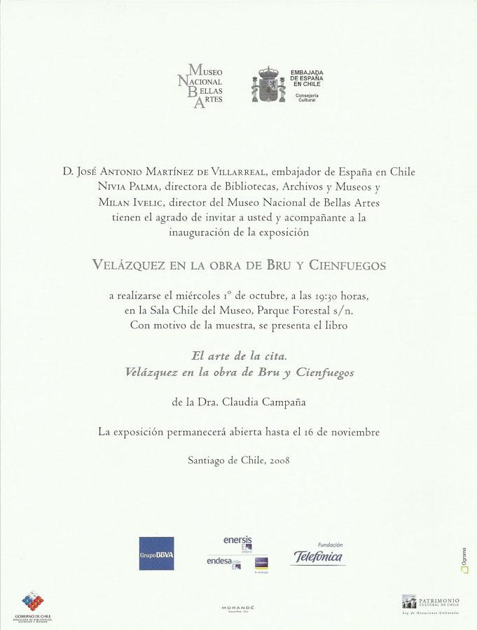 Invitación. Velázquez en la obra de Bru y Cienfuegos, 2008