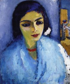 Kees-Van-Dongen-xx-Woman-in-Blue-with-Red-Necklace-