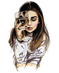 chica con copa de vino