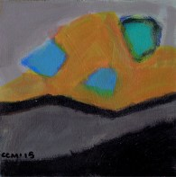 """Small landscape, Day 13. 6"""" x 6"""" on Masonite."""