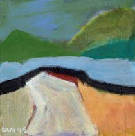 """Small landscape, Day 17. 6"""" x 6"""" on Masonite."""