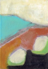 """Small landscape, Day 6. 7"""" x 5"""" on canvas board."""