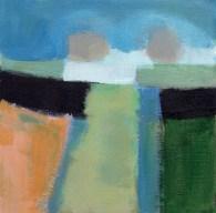 """Small landscape Day 19. 6"""" x 6"""" on Masonite."""