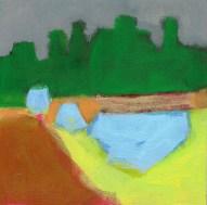 """Small landscape, Day 54 - 6"""" x 6"""" on Masonite."""