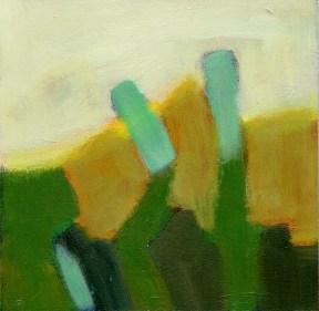 """Small landscape, Day 57- 6"""" x 6"""" on Masonite"""