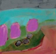 """Small landscape, Day 67 - 6"""" x 6"""" on Masonite."""