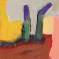 """Small landscape, Day 63 - 6"""" x 6"""" on Masonite."""
