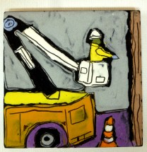 """Bucket truck and workman. Near the railroad crossing on Highland Avenue, Jenkintown, PA. 4"""" x 4"""""""