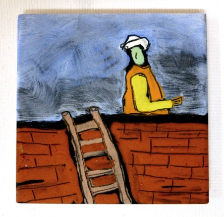 """Workman and ladder. 4"""" x 4"""". On the roof of a bank branch, Jenkintown, PA."""