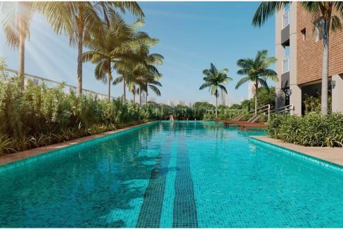 Brooklin Bricks - Perspectiva ilustrada da piscina