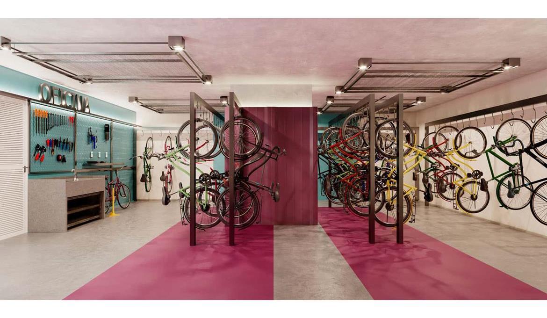 Brooklin Bricks - Perspectiva ilustrada do biciletário