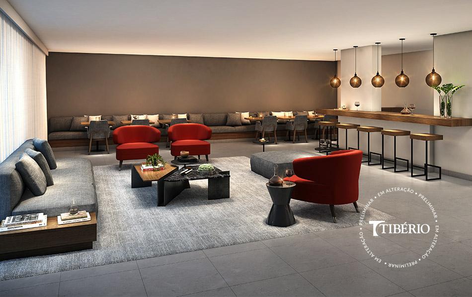 Constantino Campo Belo - Perspectiva artística do salão de festas com bar, copa e wi-fi da Tibério Construtora