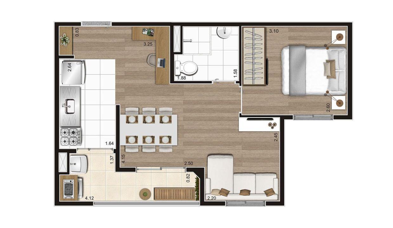 Opção 4 - Planta de 1 Dormitório do MID Sabará
