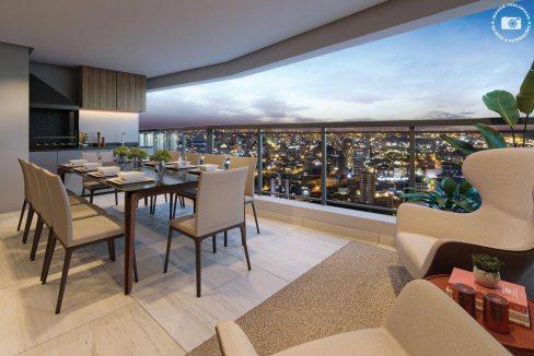 Perspectiva Ilustrada do terraço do apto. de 144 m² com sugestão de decoração - Signature by Ott