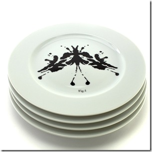 Psychoplates are inspired by the Rorschach test.  The porcelain dinner plates with inkblots discourage getting depressed from the routine of eating breakfast, lunch and dinner.
