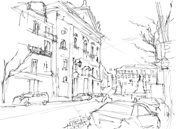 In Baixa-Chiado, Lisbon (Urban Sketch)