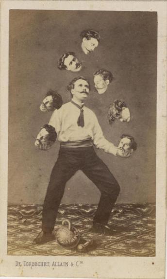 Uomo che fa giochi di destrezza con la propria testa, 1880 ca. De Torbechet, Allain & C.