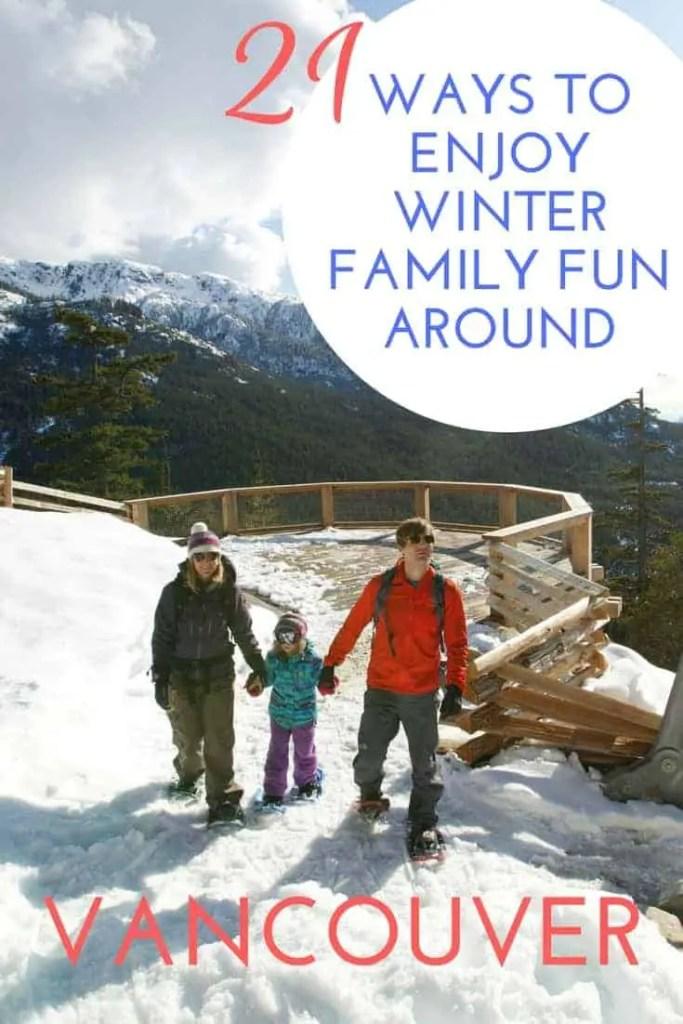 family snowshoeing on mountain