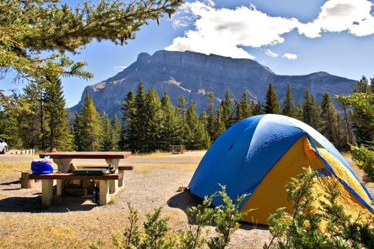 tent pitched camping in banff in summer