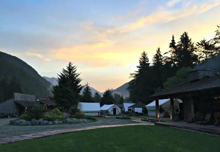 glamping tents at dawn