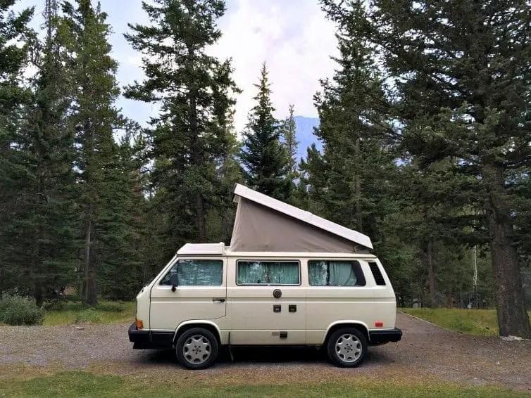 camper van in banff national park