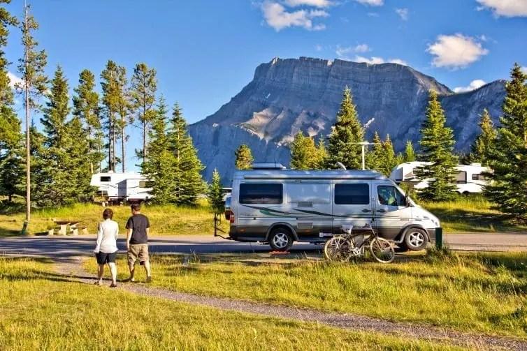 rv camping in banff