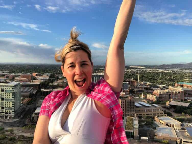 lady happy after hiking up A mountain in tempe