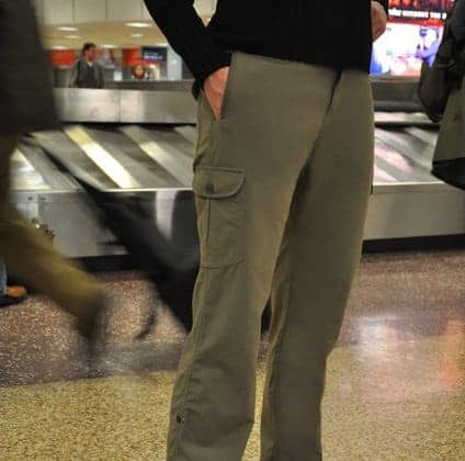 lady wearing green Clothing Arts Pick-Pocket Proof pants