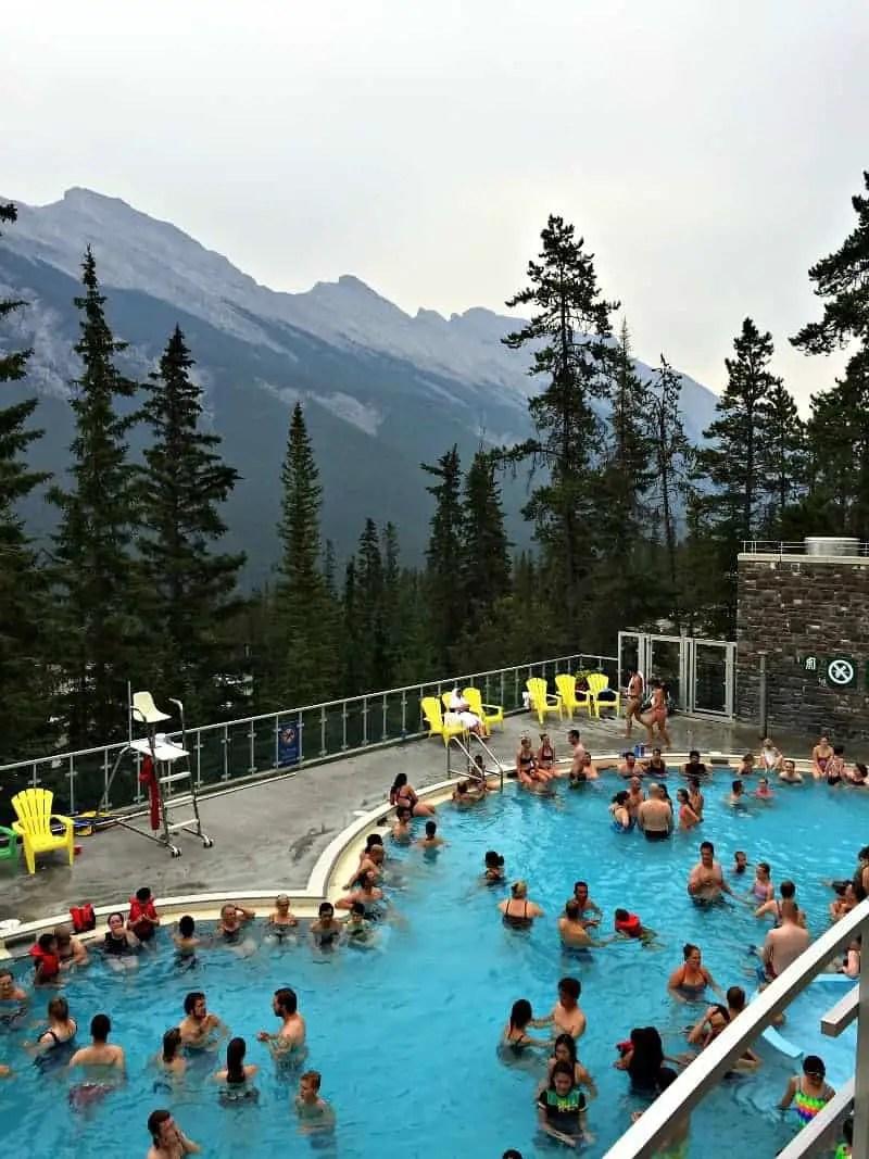 people enjoying banff hot springs