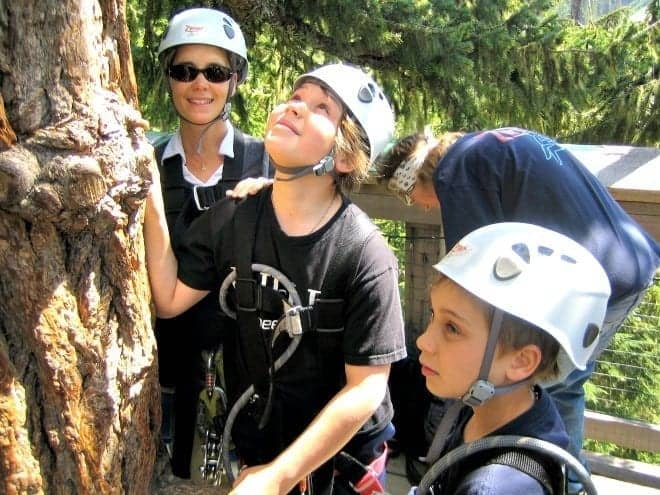 family zip lining in whistler with kids