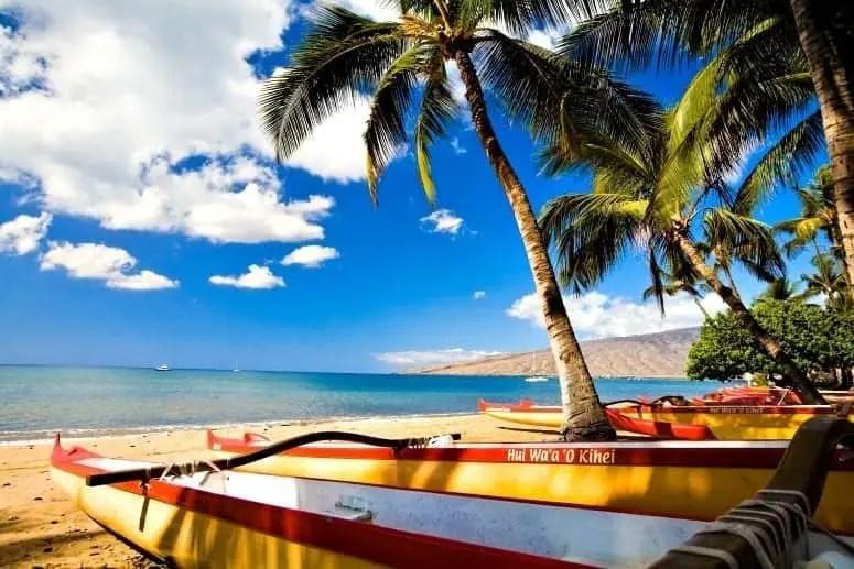 Kihei Beach outrigger canoes in Maui