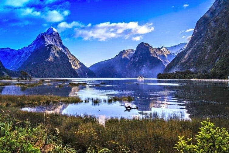 landscape of new zealand mountains and lake