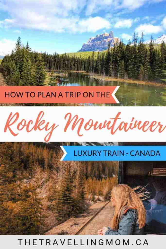 rocky mountains and girl on rocky mountaineer train